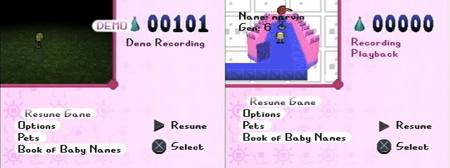 Two screenshots that demonstrate a difference between Demos and Recordings.