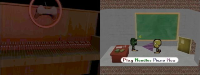 Left: Needles Piano loading screen. Right: Marvin with Paul, who is about to play the Needles.