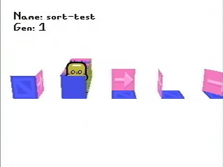 'sort-test' recording, showing a developer testing the graphics engine