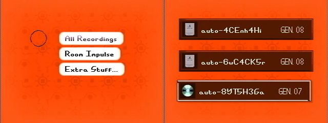 Left: The Recording Player's main menu. Right: Three auto-saved recordings; two from the memory card, and one on disc.